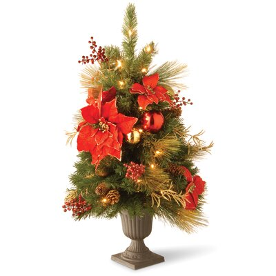 3' Green Pine Artificial Christmas Tree with 35 Pre-Lit Clear Lights with Urn Base