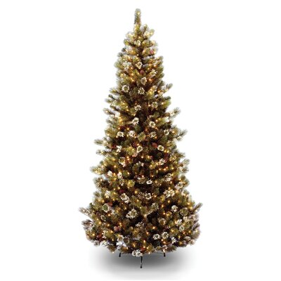 National Tree Co. Glittery Pine 7.5' Brown Slim Hinged Pine Artificial Christmas Tree with 500 ...