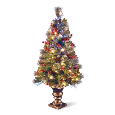 National Tree Co. Crestwood 4' Fiber Optic Spruce Artificial Christmas Tree with 50 Clear LED Lights with Urn Base