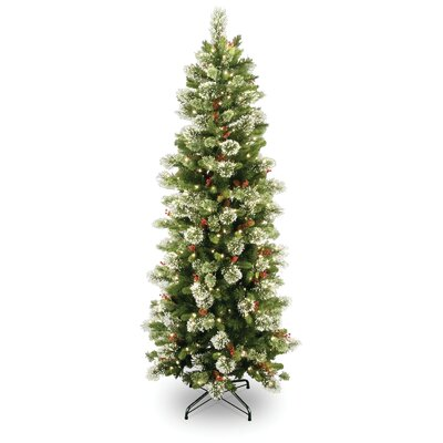 National Tree Co. Wintry Pine 7.5' Green Slim Artificial Christmas Tree with 400 Pre-Lit Clear ...