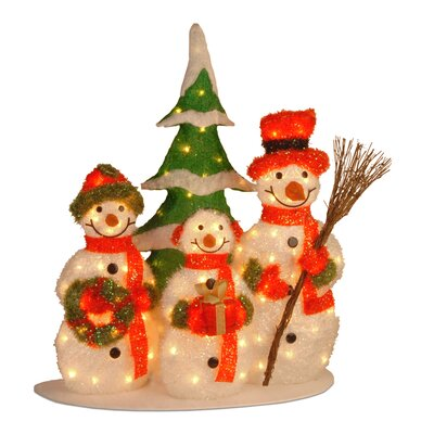 National Tree Co. Pre-Lit Tinsel Snowman Family