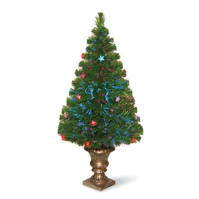 National Tree Co. Evergreen 3' Green Fiber Optic Fireworks Artificial Christmas Tree with Multicolor LED Lights with Urn Base