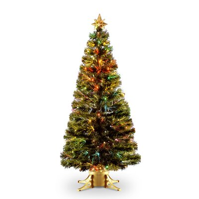 Fiber Optic Radiance Fireworks 6' Green Artificial Christmas Tree with base