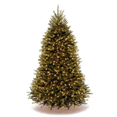 National Tree Co. Dunhill Fir 7.5' Green Hinged Artificial Christmas Tree with 750 LED Lights - Dual-Color Lights