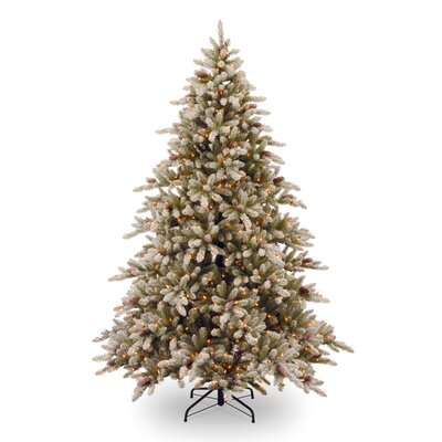 National Tree Co. 7.5' Snowy Concolor Fir Artificial Christmas Tree with 800 Pre-Lit Clear Lights with Stand