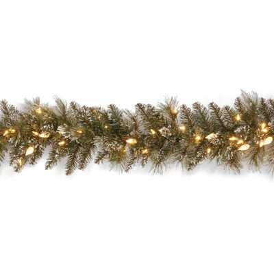 "National Tree Co. Glittery Bristle Pine Pre-Lit 9' x 10"" Garland"