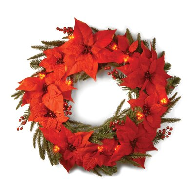 "National Tree Co. Pre-Lit 24"" Poinsettia Wreath"