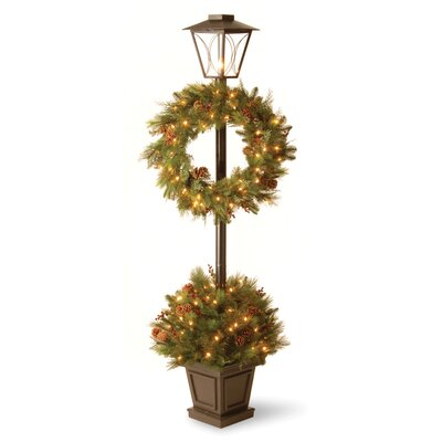National Tree Co. Decorative Pre-Lit Lantern with Potted Bush and Wreath