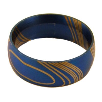 Stainless Steel Blue Wood Grain Ring