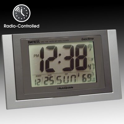 Datexx Radio Control Wall Clock with Calendar, Temperature