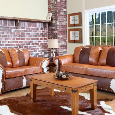 Verona Furniture Rawhide Leather Living Room Collection