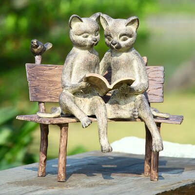 SPI Home Reading Cat on Bench Garden Statue