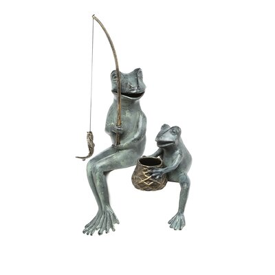 SPI Home Fishing Frog Mama and Baby Garden Statue