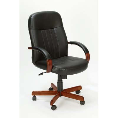 Boss Office Products High-Back Executive Chair with Hardwood Arms