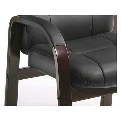 Boss Office Products Leather Guest Chair with Hardwood Arms