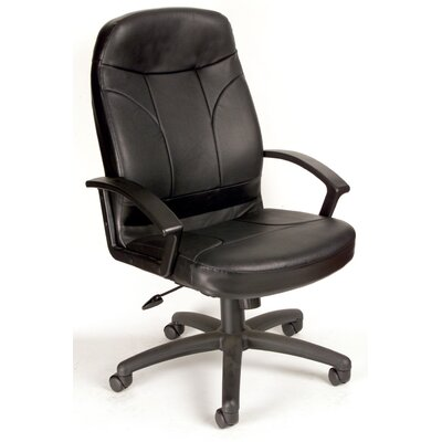 Boss Office Products High-Back Leather Executive Office Chair with Lumbar Support