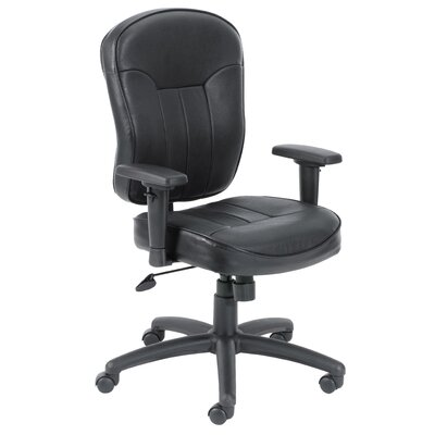Boss Office Products Mid-Back LeatherPlus Task Chair optional Arms