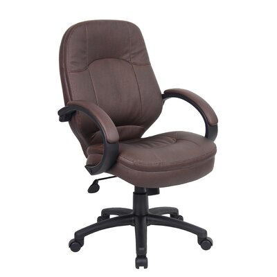 Boss Office Products Mid-Back Leatherplus Executive Office Chair with Arms