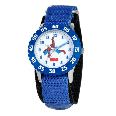Kid's Spider-Man Time Teacher Velcro Watch in Blue with Blue Bezel