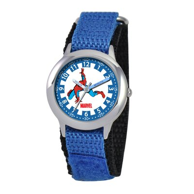 Marvel Kid's Spider-Man Time Teacher Velcro Watch in Blue