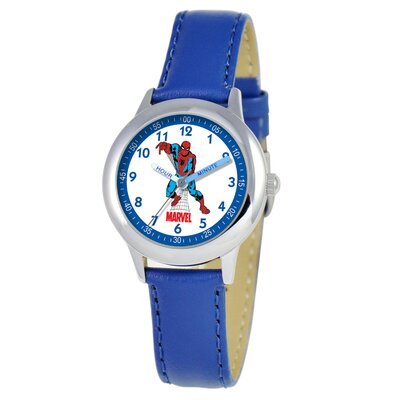 Kid's Spider-Man Time Teacher Watch in Blue Leather