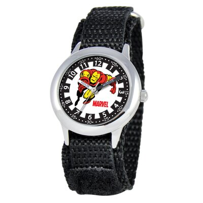 Kid's Iron Man Time Time Teacher Velcro Watch in Black