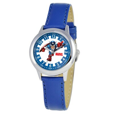 Marvel Kid's Captain America Time Teacher Watch in Blue Leather