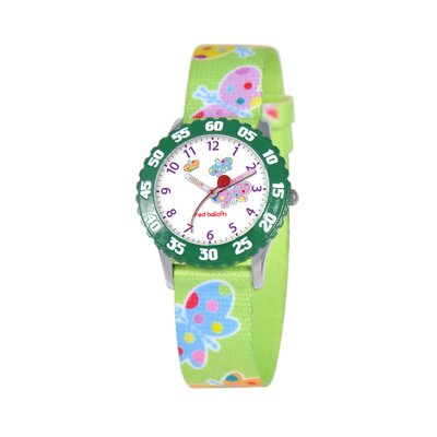 Kid's Butterflies Time Teacher Watch in Green