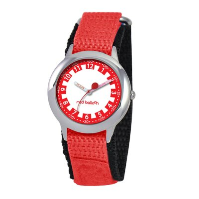 Kid's Stainless Steel Time Teacher Watch in Red