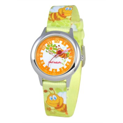 Kid's Buzzing Bees Time Teacher Printed Strap Watch in Green