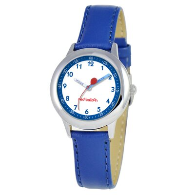 Red Balloon Kid's Stainless Steel Time Teacher Watch in Blue Leather