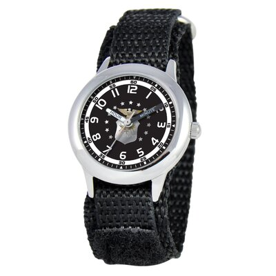 EWatchFactory Kid's Military Air Force Time Teacher Velcro Watch in Black