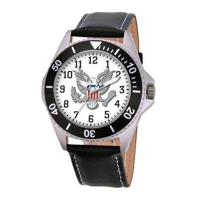 EWatchFactory Men's U.S. Army Honor Leather Strap Watch