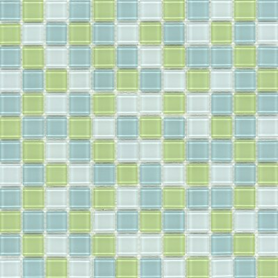 "Surfaces Elida Glass 12"" x 12"" Mosaic in Lime Multicolor"