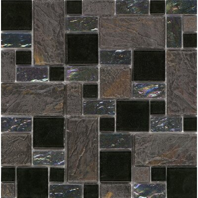 "Surfaces Elida Glass 12"" x 12"" Mosaic in Onyx Slate"