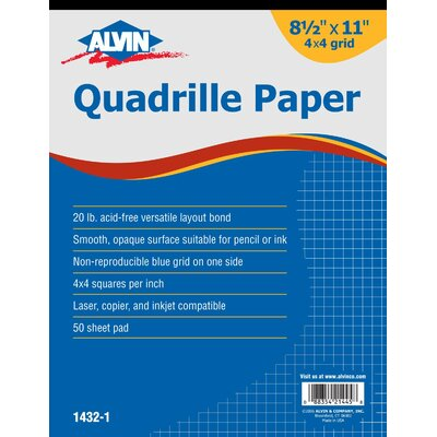 Alvin and Co. Quadrille Paper Grid Pad (Set of 50)