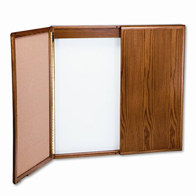 Balt Wood Conference Room Cabinet, Dry Erase/Cork Boards, 48 x 5 x 48, Med Oak