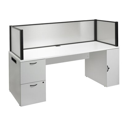 Office in a Box Desk with Privacy Screen and Bookcase | Wayfair