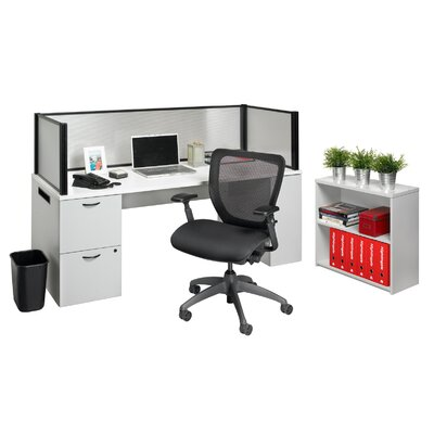 Nightingale Chairs Office in a Box Desk with Privacy Screen and Bookcase