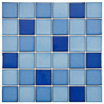 "EliteTile Pool 12-1/4"" x 12-1/4"" Porcelain Mosaic in Marine"