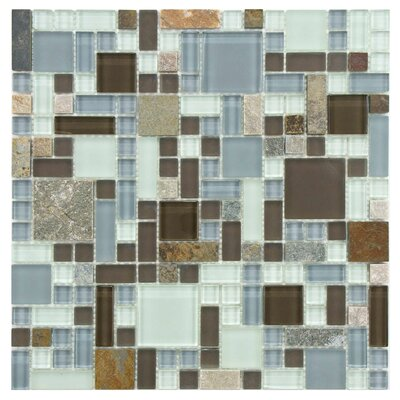 EliteTile Sierra Random Sized Polished Glass and Stone Mosaic in Versailles Tundra