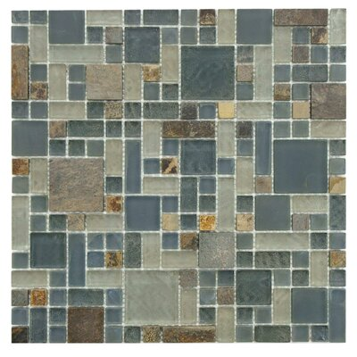 EliteTile Sierra Random Sized Polished Glass and Stone Mosaic in Versailles Wisp
