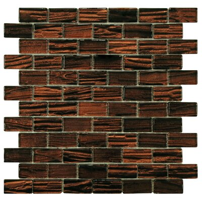 Timber Glass Glass Mosaic Tile in Mahogany