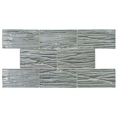 EliteTile Timber Glass Glass Mosaic Tile in Blue