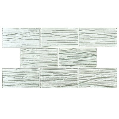 EliteTile Timber Glass Glass Mosaic Tile in White