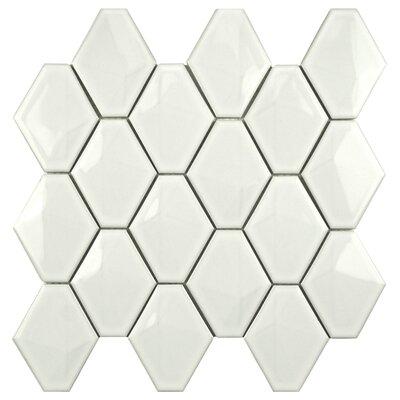 EliteTile Fractal Porcelain Glazed Mosaic Tile in White
