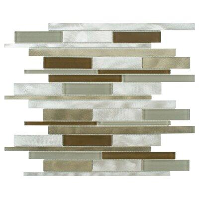 EliteTile Commix Random Sized Glass and Brushed Aluminum Mosaic Tile in Lorraine