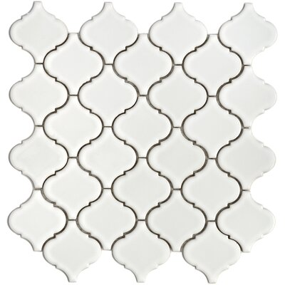 "EliteTile Beacon 12-1/2"" x 12-1/2"" Porcelain Mosaic in White"