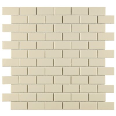 "EliteTile Retro 1-7/8"" x 7/8"" Glazed Porcelain Subway Mosaic in Glossy Biscuit"