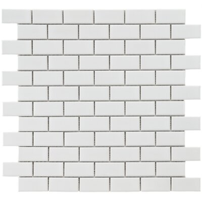 "EliteTile Retro 1-7/8"" x 7/8"" Glazed Porcelain Subway Mosaic in White"